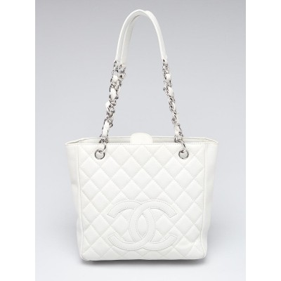 Chanel White Quilted Caviar Leather Petite Shopping Tote Bag
