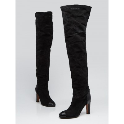 Chloe Black Suede and Leather Over-the-Knee Boots Size 6.5/37