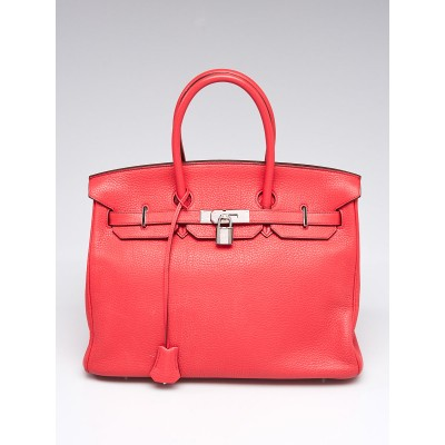 Hermes 35cm Rose Jaipur Clemence Leather Palladium Plated Birkin Bag