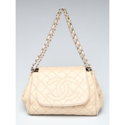 Chanel Beige Clair Quilted Caviar Leather Timeless Accordion Flap Bag
