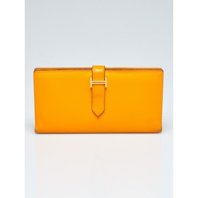 Hermes Jaune d'or Epsom Leather Gold Plated Bearn Wallet
