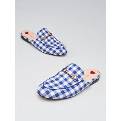 Gucci Blue/White Gingham Check Print Fabric Princetown Slippers Size 6/36.5