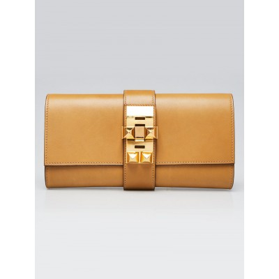 Hermes 23cm Paille Box Leather Gold Plated Medor Clutch Bag