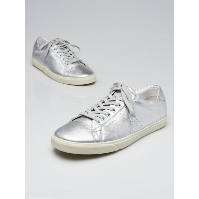 Celine Silver Leather Triomphe Low-Top Sneakers Size 7.5/38