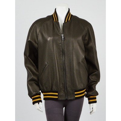 Gucci Black/Gold Leather Star Printed Bomber Jacket Size 12/46