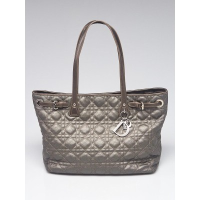 Christian Silver Cannage Quilted Coated Canvas Small Panarea Tote Bag