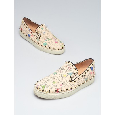 Christian Louboutin Beige/Multicolor Canvas Beaded Printed Boat Shoes Size 8.5/39