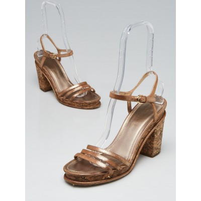 Chanel Bronze Metallic Leather and Cork Strappy Sandals Size 10.5/41