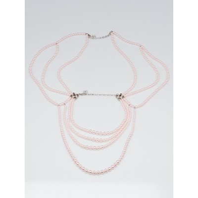 Chanel Pink Glass Pearl Multi-Strand Long Necklace