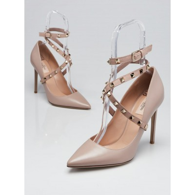Valentino Beige Smooth Leather Rockstud Ankle Wrap Pumps Size 10.5/41
