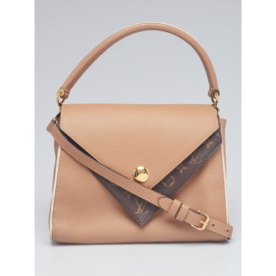 Louis Vuitton Sesame Leather and Monogram Coated Canvas Double V Bag