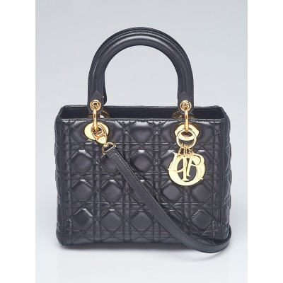 Christian Dior Black Cannage Quilted Lambskin Leather Medium Lady Dior Bag