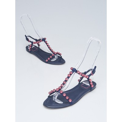 Christian Dior Navy Blue Satin Beaded Sandals Size 6.5/37