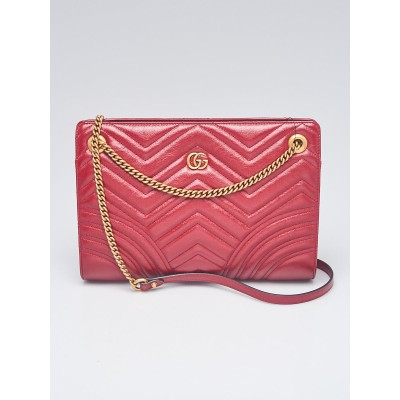 Gucci Red Quilted Calf Leather Marmont Medium Frame Top Shoulder Bag