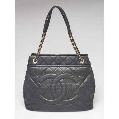 Chanel Black Quilted Caviar Leather Timeless Soft Large Shopping Tote Bag