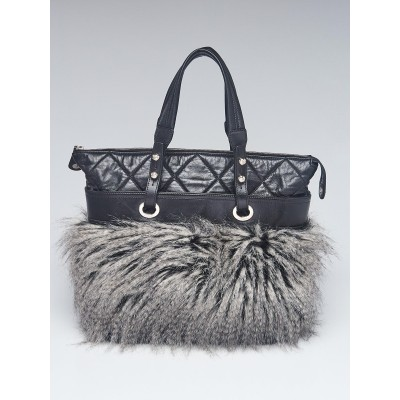 Chanel Black Quilted Leather and Fantasy Fur Shopping Tote Bag
