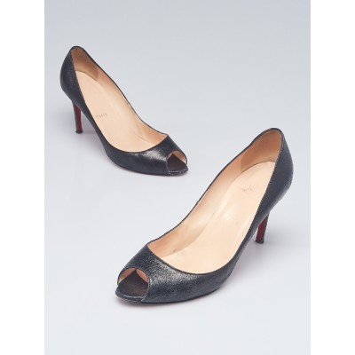 Christian Louboutin Black Cracking Leather Peep-Toe Pumps Size 9/39.5