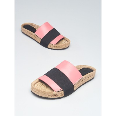 Balenciaga Pink/Black Leather Espadrille Flats Size 6.5/37