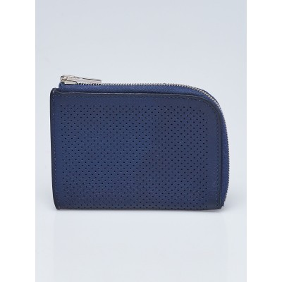 Hermes Blue Ocean Perforated Leather Remix ID Card Holder