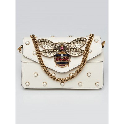 Gucci White Leather Pearl Studded Mini Broadway Bee Shoulder Bag