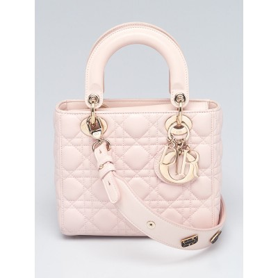 Christian Dior Light Pink Cannage Quilted Lambskin Leather Small My Lady Dior Bag