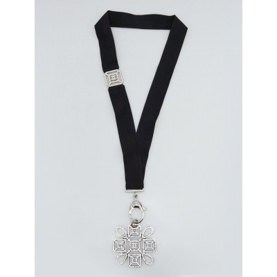 Chanel Black Ribbon and Crystal Medallion Lanyard Necklace