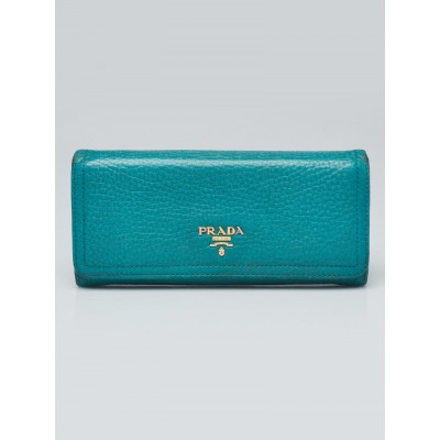 Prada Teal Leather Continental Wallet