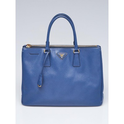 Prada Blue Saffiano Leather Double Zip Large Tote Bag BN1786
