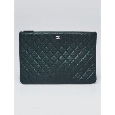 Chanel Dark Green Quilted Leather Classic O-Case Zip Large Pouch