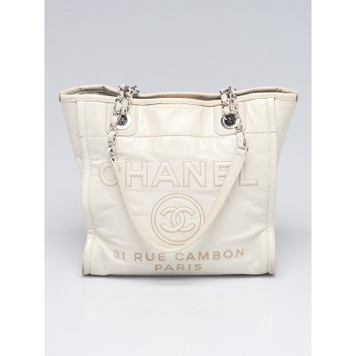 Chanel White Glazed Leather North/South Deauville Small Shopping Tote Bag