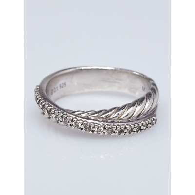 David Yurman Sterling Silver and Diamond Crossover Ring Size 6