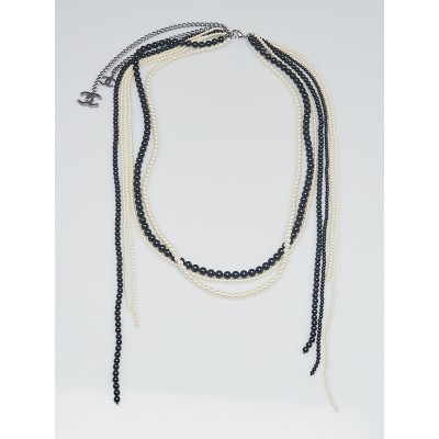 Chanel Black/White Faux Pearls Multi Strand Necklace