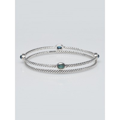 David Yurman Sterling Silver Cable and Blue Topaz Cable Classics Bracelet Set