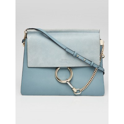 Chloe Cloudy Blue Leather/Suede Faye Medium Shoulder Bag
