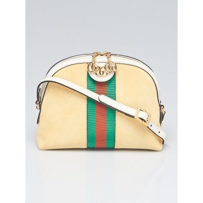 Gucci Yellow Suede/ Leather Vintage Web Ophidia Small Shoulder Bag
