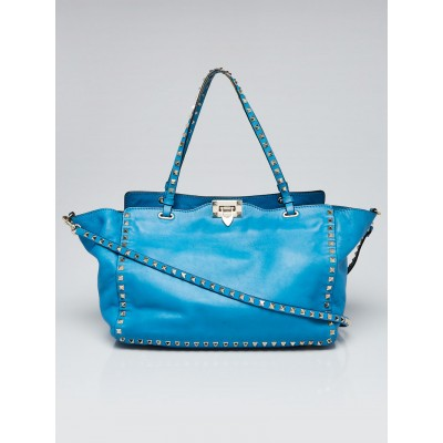 Valentino Bright Blue Leather Rockstud Trapeze Medium Tote Bag