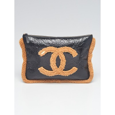 Chanel Black/Brown Crumpled Leather and Shearling CC Mania O-Case Zip Pouch