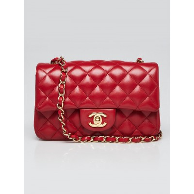 Chanel Red Quilted Lambskin Leather Classic New Mini Flap Bag
