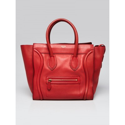 Celine Red Smooth Calfskin Leather Mini Luggage Tote Bag