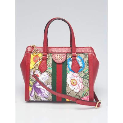 Gucci Red Leather GG Flora Coated Canvas Ophidia Small Tote Bag