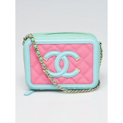 Chanel Pink/Green/Blue Quilted Caviar Leather Filigree Vanity Clutch with Chain Bag