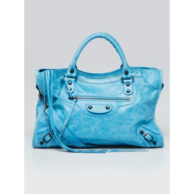 Balenciaga Turquoise Lambskin Leather Motorcycle City Bag