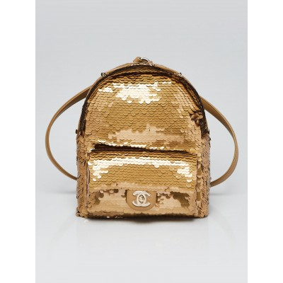 Chanel Gold Sequin and Leather Backpack Bag