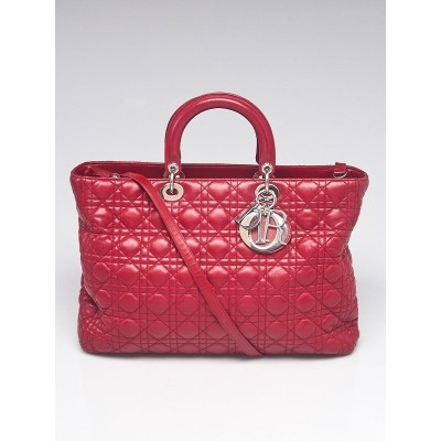 Christian Dior Red Cannage Quilted Lambskin Leather Extra Large Lady Dior Bag