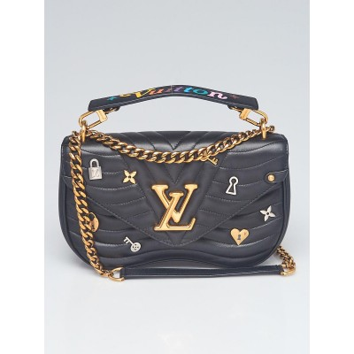 Louis Vuitton Black Quilted Leather New Wave Love Lock Chain MM Bag