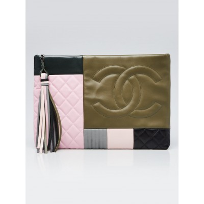 Chanel Pink/Green/Black Quilted Calfskin Leather Coco Cuba O-Case Large Zip Pouch