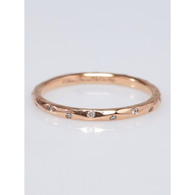 Tiffany & Co. 18k Hammered Rose Gold and Diamond Paloma Picasso Ring Size 6.5