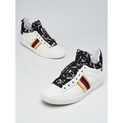Gucci White Leather Vintage Web Lace New Ace Slip-On Sneakers Size 10.5/41
