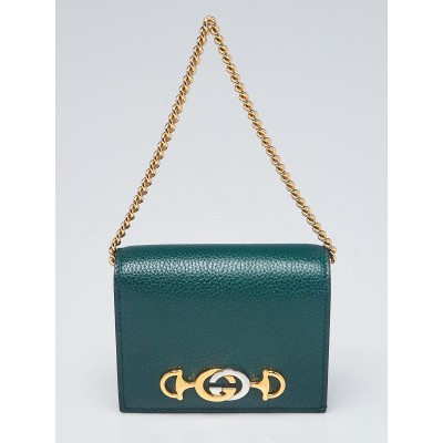 Gucci Green Grainy Leather Zumi Card Case Wallet