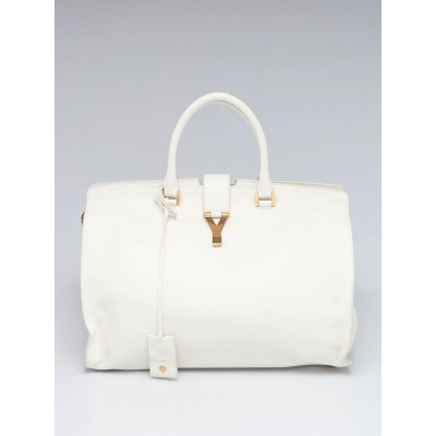 Yves Saint Laurent White Leather Large Cabas ChYc Bag